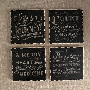 Set of 4 Coasters - Neutral with Phrases